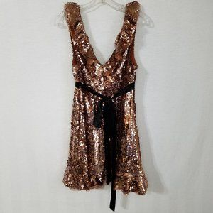 Free People Tribeca Dress Sequins Open Back Copper